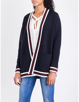 Sandro Striped-trim knitted cardigan