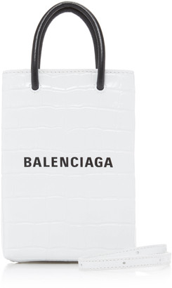 Balenciaga Shopping Croc-Effect Leather Phone Holder