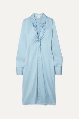Bottega Veneta Ruched Stretch-satin Midi Dress - Blue