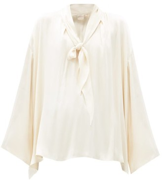 Zanini V-neck Pussy-bow Silk-satin Blouse - Cream