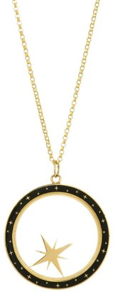 Bare Constellation 14K Gold & Champleve Enamel Compass Shaker Pendant Necklace