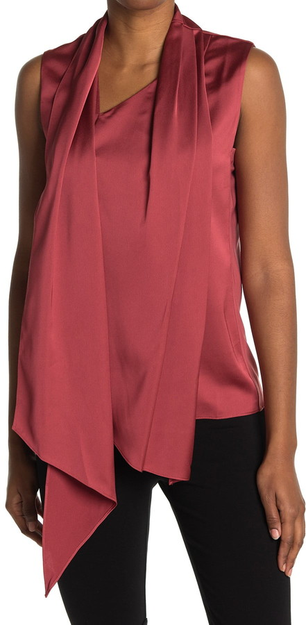 Anne Klein Satin Crepe Scarf Top