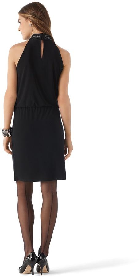 White House Black Market Sparkle Mockneck Halter Dress