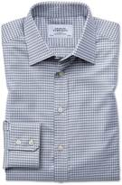 Charles Tyrwhitt Slim Fit Large Puppytooth Light Grey Cotton Formal Shirt Single Cuff Size 14.5/33