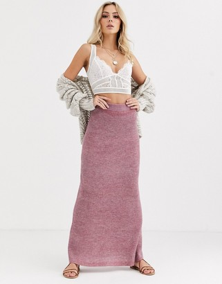 Free People drag me out knitted midi skirt-Pink