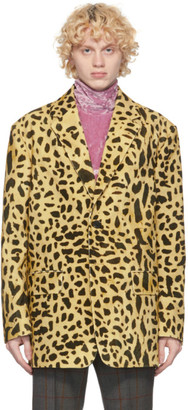 Dries Van Noten Yellow and Black Leopard Blazer