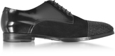 Jimmy Choo Penn Shiny Black Leather and Suede Studded Derby Shoes