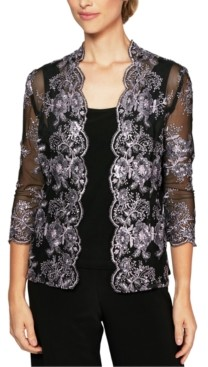 Alex Evenings Embroidered Jacket & Top Set