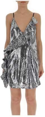 Laneus Sequins Ruffle Trim Slip Dress