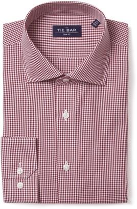 Tie Bar Petite Gingham Burgundy Non-Iron Dress Shirt