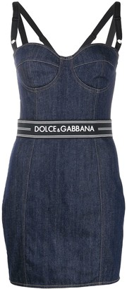 Dolce & Gabbana Logo Belt Denim Dress