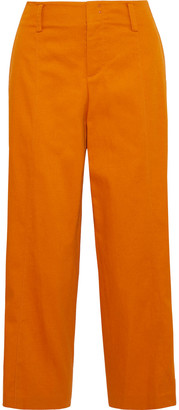 Vince Sienna Cropped Cotton-blend Twill Wide-leg Pants