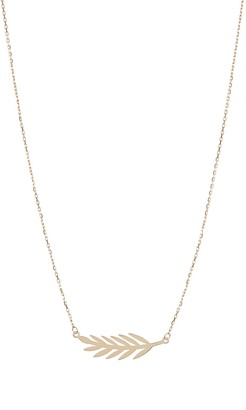KARAT RUSH 14K Yellow Gold Feather Pendant Necklace