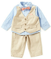 Edgehill Collection Baby Boys Newborn-6 Months Gingham Faux-Vest Shirt & Linen Pants Set