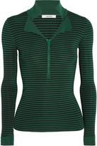 GANNI - Evangel Striped Ribbed Stretch-knit Top - Forest green