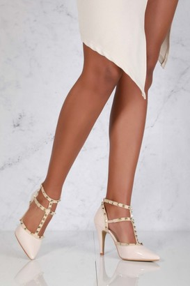 Miss Diva Kloss Mid Heel Rock Stud Sling Back in Nude Patent