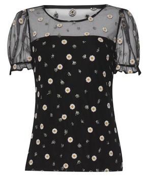 Dorothy Perkins Womens Black Floral Print Mesh Top, Black