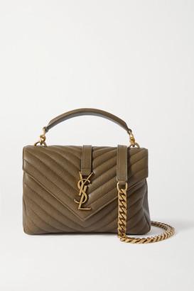 Saint Laurent College Medium Quilted Leather Shoulder Bag - Green