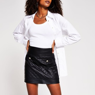 River Island Womens Black quilted faux leather mini skirt
