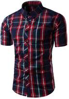 Zawapemia Men's Woven Short Sleeve Button Down Plaid Shirt L