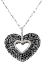 Effy Jewelry Effy 14K White Gold Black and White Diamond Heart Pendant, 2.45 TCW