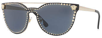 Versace Studded Flat-Top Wrap Sunglasses