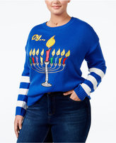 It's Our Time Trendy Plus Size Menorah Light-Up Holiday Sweater