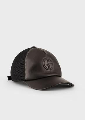 Giorgio Armani Leather-And-Mesh Visored Hat