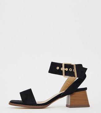 Raid Wide Fit Bessie black block heel sandals