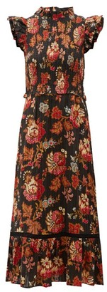 Sea Pascale Floral-print Cotton-jacquard Dress - Black Multi