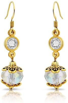 Besheek Goldtone and Clear AB Crystal Dangle Earrings