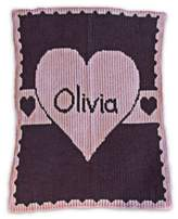 Butterscotch Blankees Heart with Banner Blanket in Pale Pink/Charcoal