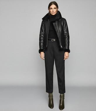 Reiss Belle - Reversible Shearling Jacket in Black