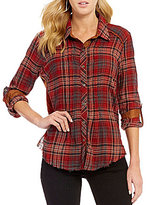 Miss Me Plaid Ribbed Back Button Down Shirt