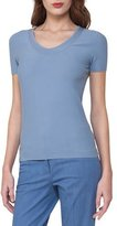 Akris Short-Sleeve Piqué Scoop-Neck Sweater