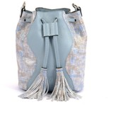 Atelier Hiva Mini Rivus Straw Leather Bag Silver & Baby Blue