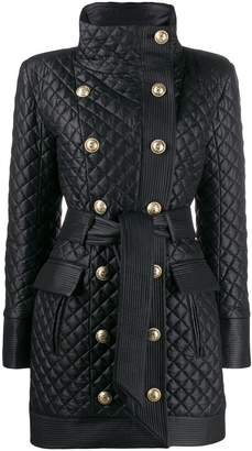Balmain diamond quilted coat