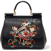 Dolce & Gabbana Sicily Medium Embellished Appliquéd Textured-leather Tote - Black