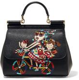 Dolce & Gabbana Sicily Medium Embellished Appliquéd Textured-leather Tote - Black