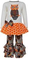 AnnLoren Little Girls Autumn Owl Shirt Pants Clothing Set