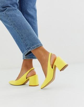 ASOS DESIGN Samson slingback mid heels in pale yellow