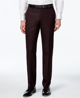 Calvin Klein Men's Burgundy Flat-Front Slim-Fit Dress Pants