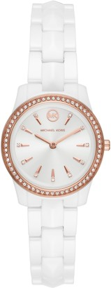 Michael Kors Runway Mercer Pave Ceramic Bracelet Watch, 28mm