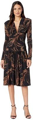 KAMALIKULTURE by Norma Kamali V-Neck Long Sleeve Shirred Waist Dress with Shoulder Pads (Wheat & Barley) Women's Dress