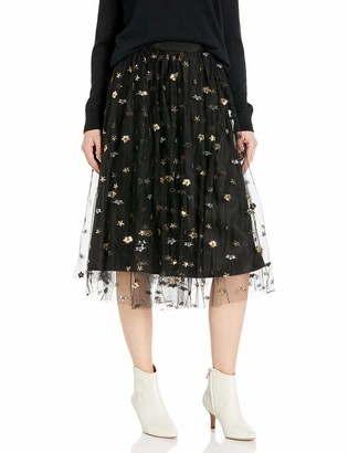 Cupcakes And Cashmere Women's Scarlet high Waist Tulle Skirt with Gold Star