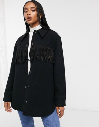 And other stories & fringe detail shacket in black