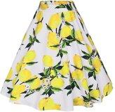 Ruiyige Women's High Waist Floral/Polka Dots Print Pleated Skirt Midi Skater Skirt L