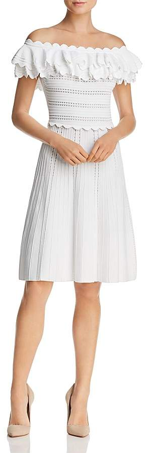 Alice + Olivia Janella Ruffled Off-the-Shoulder Pointelle Dress