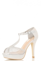 Quiz Silver Shimmer Mesh Diamante Platform Sandals
