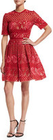 Elie Saab Crocheted Half-Sleeve Fit-and-Flare Dress, Lipstick/Peony